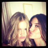 Behati Prinsloo and Lily Aldridge struck pouty poses during a Victoria's Secret shoot. Source: Instagram user officiallilyaldridge