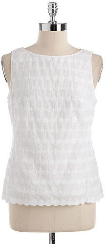 ADRIANNA PAPELL Sleeveless Embroidered Cotton Top