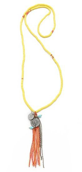 We love the bohemian feel of this Chan Iuu tassel charm necklace (