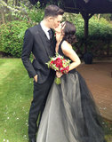 Shenae Grimes married Josh Beech in May, wearing a black Vera Wang Fall 2012 gown. The fitted halter-style silhouette with princess-worthy honeycomb tulle skirt was a surprisingly dark choice for the 90210 actress, but it certainly let her rose bouquet stand out. Source: Twitter user shenaegrimes