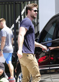 Liam Hemsworth smiled slightly in LA.