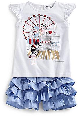 Hartstrings Toddler's & Little Girl's Coney Island Flutter Sleeve Top