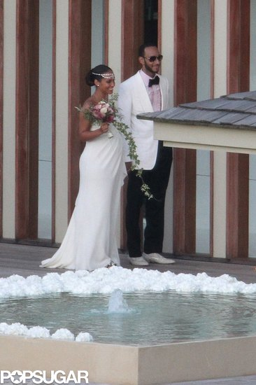 Vera Wang created an ivory silk goddess gown for Alicia Keys, who was six months pregnant at the time of her nuptials. Keys married Swizz Beatz in July 2010 on the island of Corsica, and she paired a jeweled headpiece and Jacob & Co. necklace with her custom look.