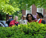Oprah sported some shades during her walk through the Harvard Yard.