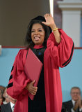She waved to the crowd of 2013 Harvard graduates.