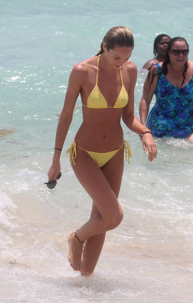 Candice Swanepoel showed off her angelic body on the beach in Miami on May 26.