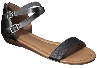 Women's Merona® Elba Silver Wedge Sandal with Back Counter - Black