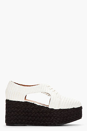 JEFFREY CAMPBELL Beige & Black Woven Cut-Out Clinton Platform Derbys