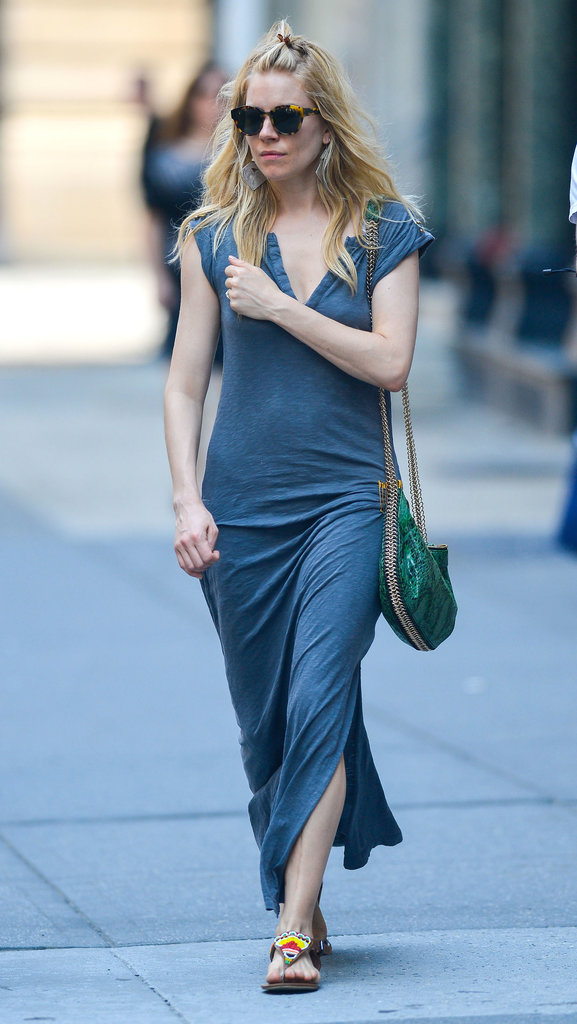Sienna Miller wore a maxi dress for a Summer day in NYC.