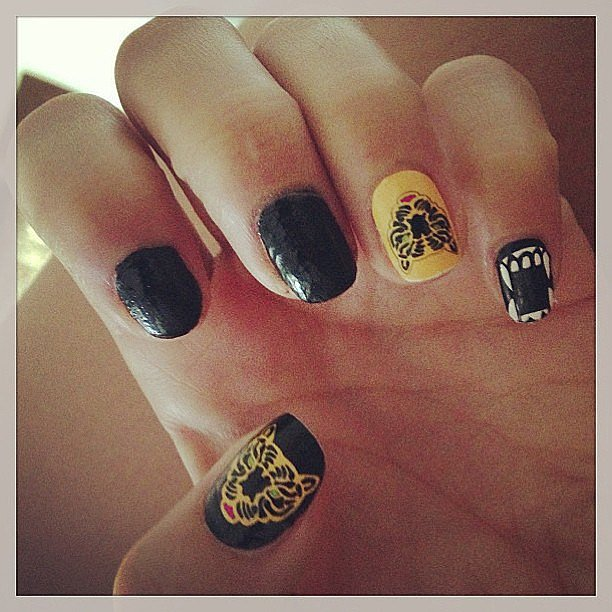We're inspired by Vanessa Hudgens's edgy manicure. Source: Instagram user vanessahudgens