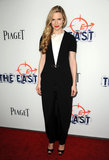 Brit Marling chose a voluminous shape in classic black and white to premiere The East in Los Angeles.