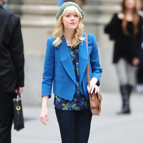 Emma Stone Outfit Filming Spiderman 2 | Video
