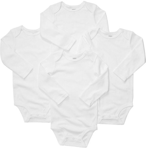 Carter's Baby Bodysuit, Baby Boys or Baby Girls 4-Pack White Bodysuits