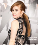 Sideswept bangs, hair around the rubberband, and loose tendrils around the ears made for one stylish ponytail on Isla Fisher at the Now You See Me premiere.