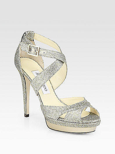 What bride doesn't want her toes to sparkle on her big day? The perfect way to do so is with these Jimmy Choo glitter platform sandals ($895).