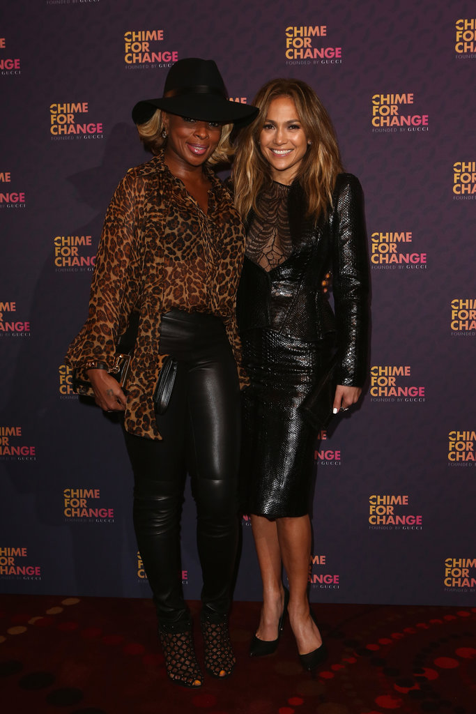 Inside the press room, Mary J. Blige and Jennifer Lopez posed together in their rock star-worthy outfits. Mary paired leopard Gucci with leather, while Jennifer stuck to all-leather in Gucci.