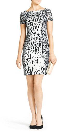 Queen Printed Silk Dress In Paint Marks Mint / Leopard