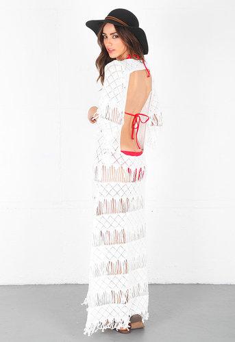 Long Fringe Dress in White - by Nightcap Clothing
