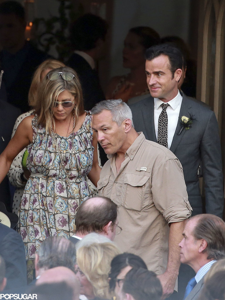 Jennifer Aniston was Justin Theroux's date to Lake Bell's June 2013 wedding in New Orleans.