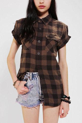 Urban Renewal Rolled-Sleeve Flannel Boyfriend Shirt