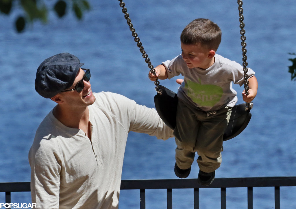 Tom Brady gave his son Ben a push on the swings in Boston.