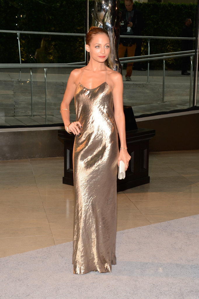 Nicole Richie wore a gold gown to the CFDA Fashion Awards.