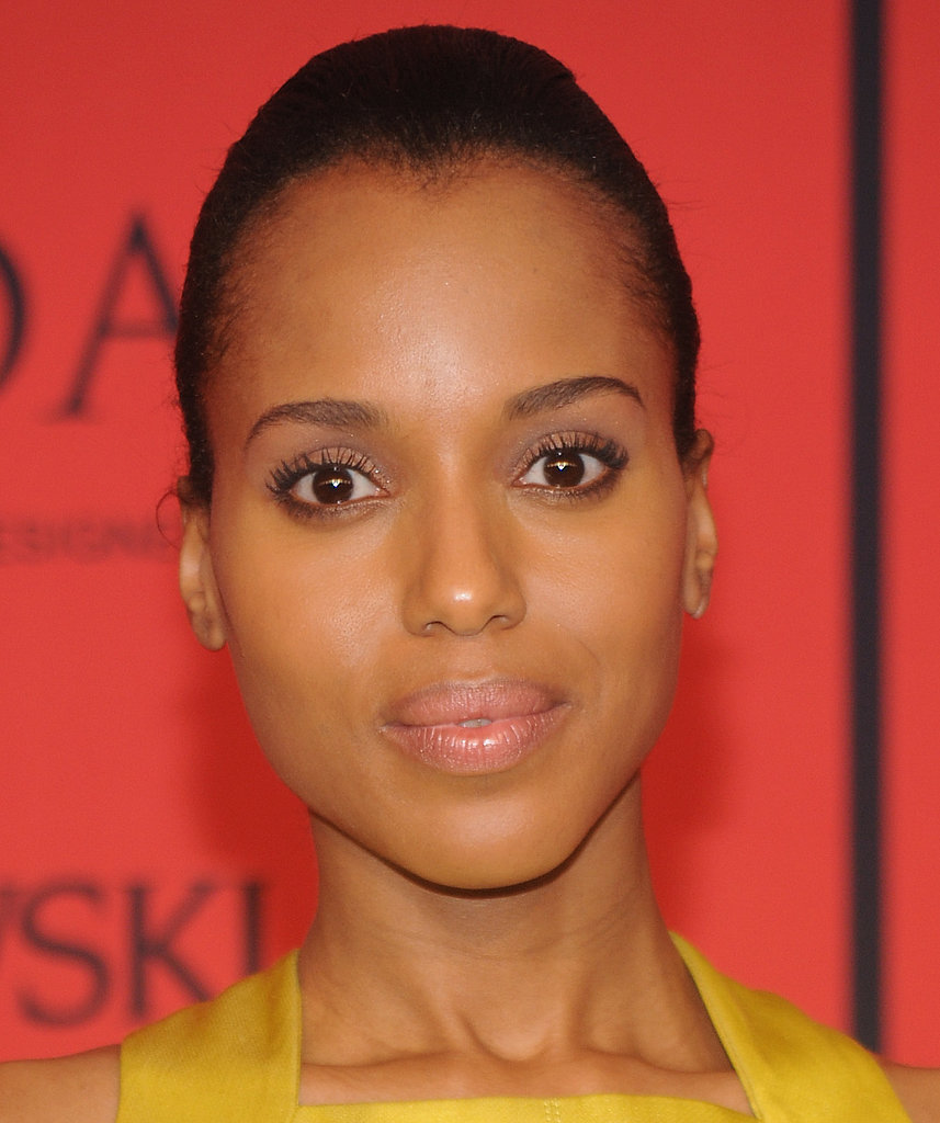 Kerry Washington allowed her flawless complexion to be the focal point of her CFDA Fashion Awards beauty look, with sheer makeup and her hair slicked back into a bun.