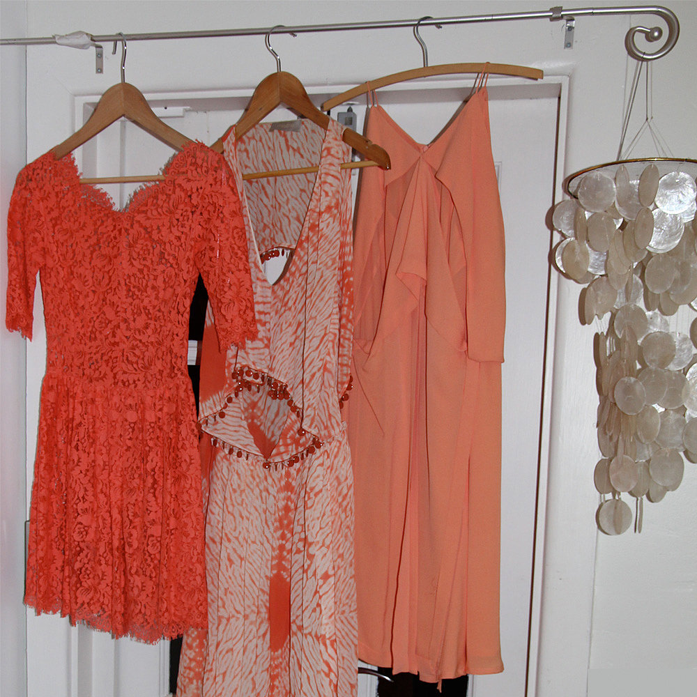 I have to confess, the aforementioned 'peach dress' section of my wardrobe is pretty chockas. These are some of my favourites. Left to right: Lover, Willow and Willow.