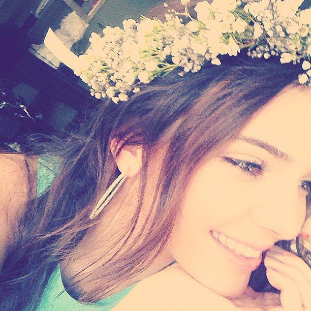 Kendall Jenner wore a flower crown at her sister Kim Kardashian's baby shower. Source: Instagram user KendallJenner