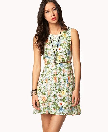 FOREVER 21 Sketched Floral Dress w/ Skinny Belt