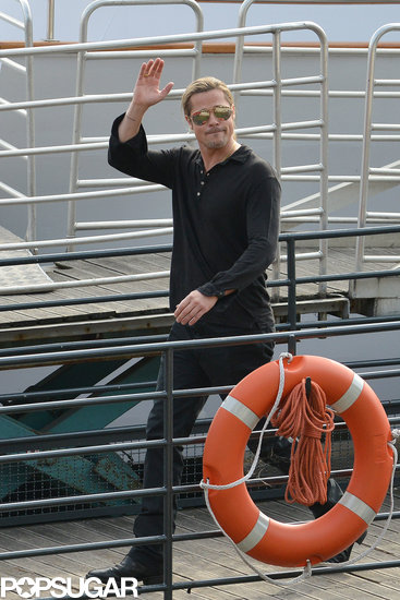 Brad Pitt waved in Paris.