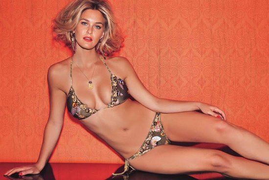 Bar Refaeli got glammed up in a printed bikini for a 2012 photo shoot for Agua Bendita swimwear.