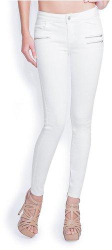 Rebel Moto Zip White Skinny Jeans