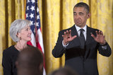 President Obama made a funny face next to Health and Human Services Secretary Kathleen Sebelius.