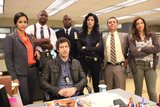 Andy Samberg, Melissa Fumero, Terry Crews, Andre Braugher, Stephanie Beatriz, Joe Lo Truglio and Chelsea Peretti in Brooklyn Nine-Nine.