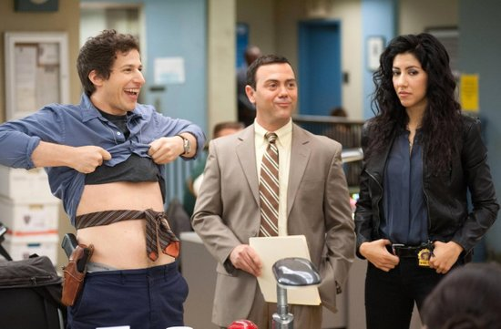 Andy Samberg, Joe Lo Truglio and Stephanie Beatriz in the new Fox show, Brooklyn Nine-Nine.