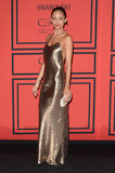 Nicole Richie was a golden girl in a metallic slip dress by Marc Jacobs.