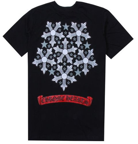 CH aluminium cross pentagram cotton T-shirt