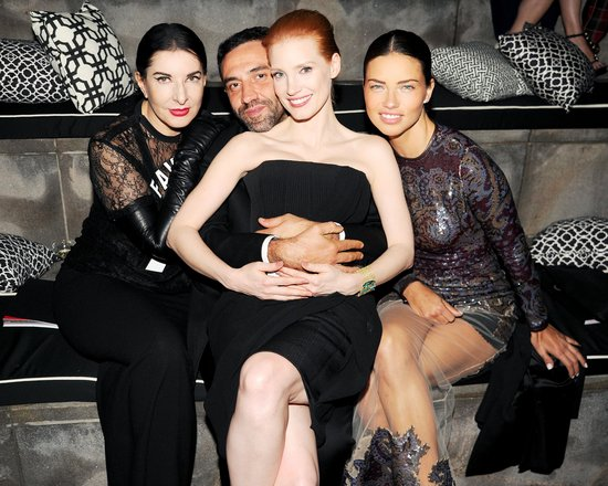 Jessica Chastain and Adriana Lima played around with Riccardo Tisci and artist Marina Abramovic.  Source: Billy Farrell/BFANYC.com
