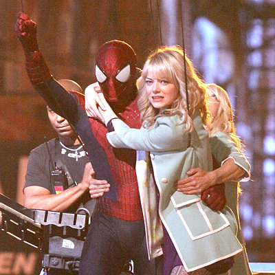 Andrew Garfield Rescues Emma Stone on Spider-Man 2 Set