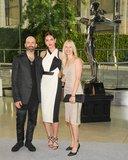 Hilary Rhoda with Helmut Lang designers Michael and Nicole Colovos. Source: Neil Rasmus/BFAnyc.com