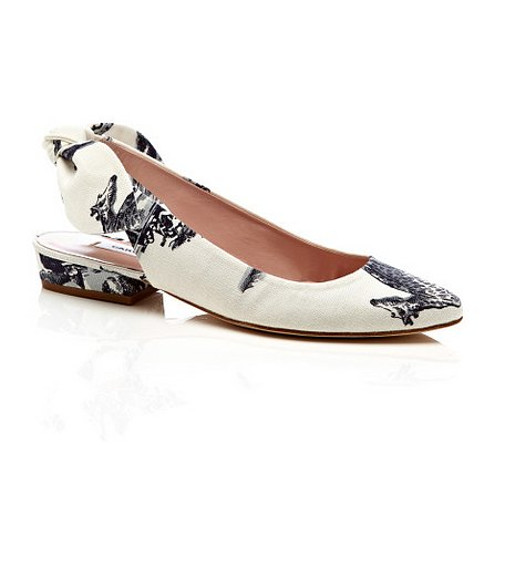 Carven's print hit of the season, safari toile, is an unexpected accent in these bow-back flats ($195, originally $390).