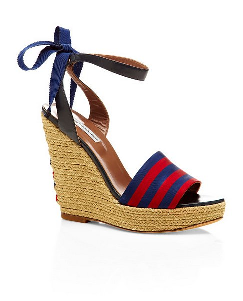 One of the unofficial shoes of Summer, the espadrille goes nautical with Tabitha Simmons's navy and red stripes ($290, originally $575).