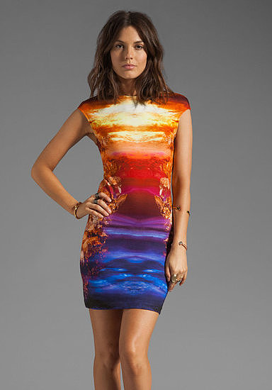 McQ by Alexander McQueen's jersey cap-sleeve dress ($382) will no doubt rival the sunset — and possibly win.