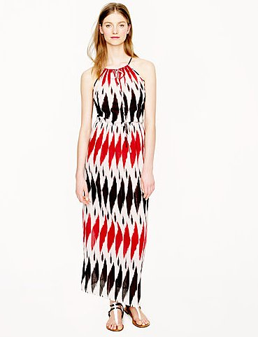This J.Crew ikat maxi dress ($148) makes a statement on its own but would really come to life with some fabulous baubles and metallic sandals.