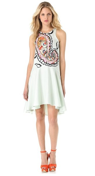 If you appreciate a good paisley print, then hop on this Cynthia Rowley paisley halter dress ($595). The minty hue gives it a dainty air.