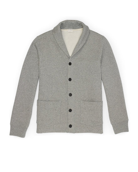 Young dads and grandfathers alike will benefit from Club Monaco's sleek and sophisticated shawl collar cardigan ($130).
