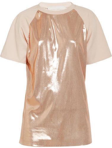 Esteban Cortazar Lamé and stretch-crepe T-shirt