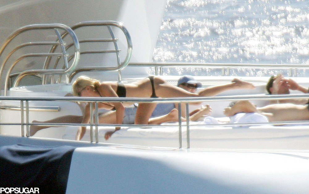 Bikini-clad Anna Kournikova soaked up the sun on a yacht in St. Bart's in January 2006.