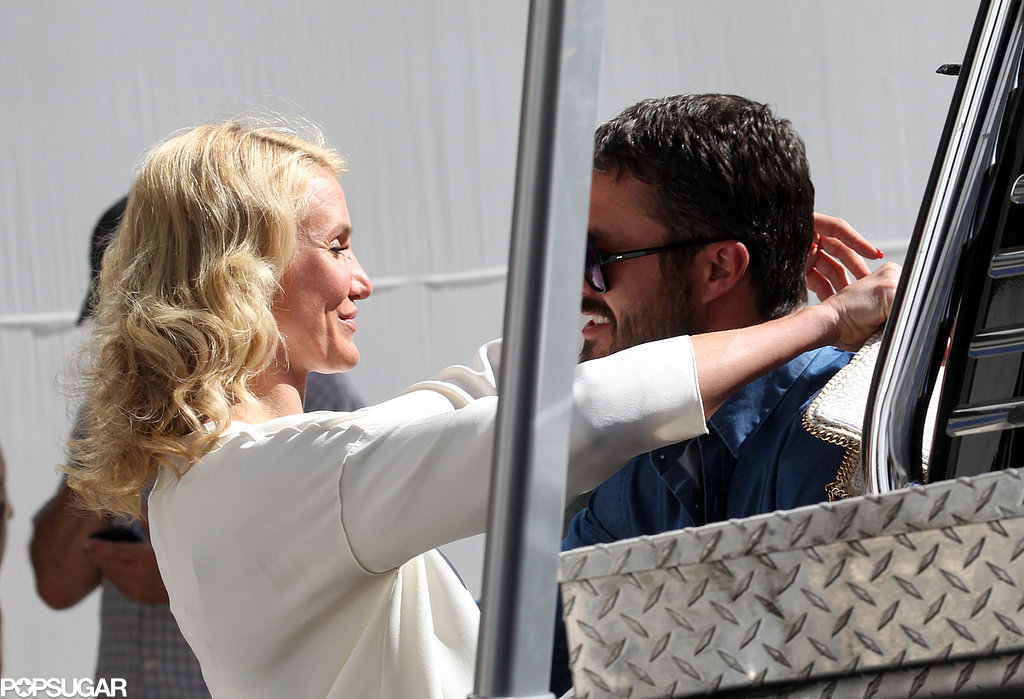 Cameron Diaz embraced Taylor Kinney on set in NYC.